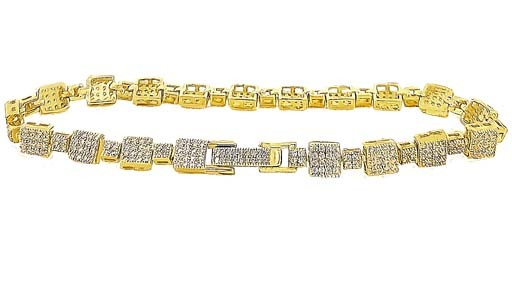 Micro Pave 925 Sterling Silver Bracelet 14K Yellow Gold Plating with Cubic Zirconia