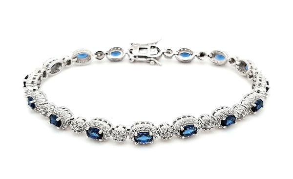 Micro Pave 925 Sterling Silver Bracelet Rhodium Plating with Blue Sapphires and White Cubic Zirconia