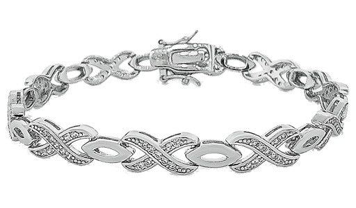 Micro Pave 925 Sterling Silver Bracelet Rhodium Plating with Cubic Zirconia