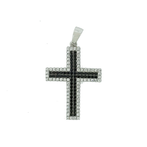 Micro Pave 925 Sterling Silver Cross Pendant Rhodium Plating with Black and White Cubic Zirconia