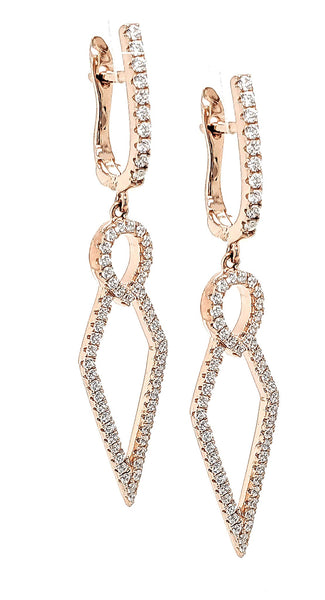 MICRO PAVE 925 STERLING SILVER DANGLE EARRING RHODIUM PLATING WITH CUBIC ZIRCONIA
