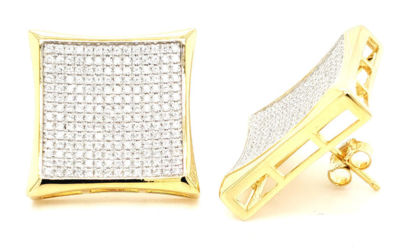 MICRO PAVE 925 STERLING SILVER EARRING 14K YELLOW GOLD PLATING WITH CUBIC ZIRCONIA