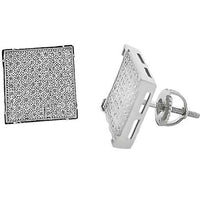 Micro Pave 925 Sterling Silver Earring Rhodium Plating with Cubic Zirconia