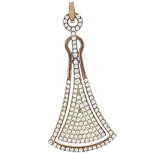 Micro Pave 925 Sterling Silver Ladies Pendant 14K Rose Gold Plating with Cubic Zirconia