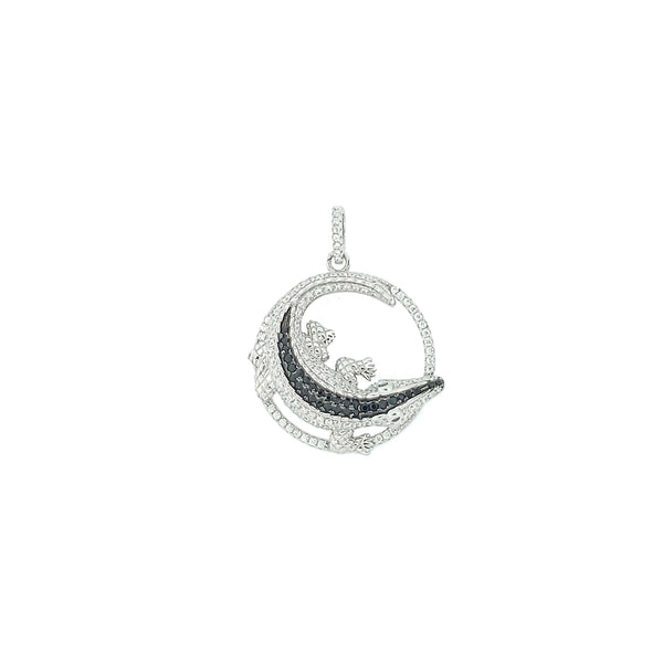 Micro Pave 925 Sterling Silver Ladies Pendant Rhodium Plating with Cubic Zirconia