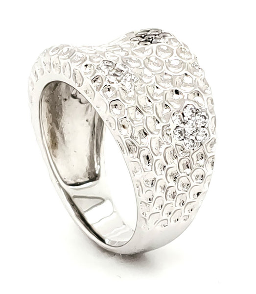 Micro Pave 925 Sterling Silver Ladies Ring Rhodium Plating with Cubic Zirconia