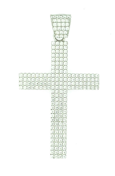 Micro Pave 925 Sterling Silver Men's Cross Pendant Rhodium Plating with Cubic Zirconia