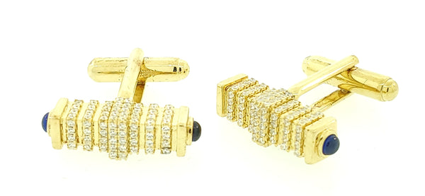 Micro Pave 925 Sterling Silver Men's Cuff Links 14K Yellow Gold Plating with Blue Sapphire and White Cubic Zirconia