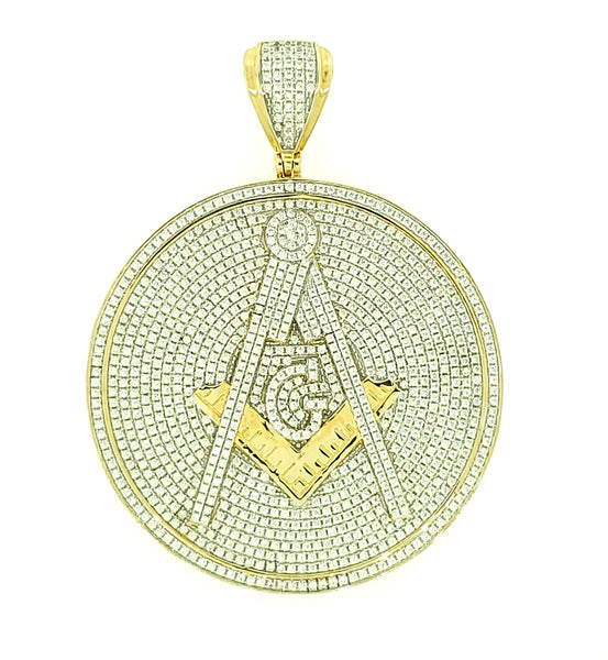 Micro Pave 925 Sterling Silver Men's Pendant 14K Yellow Gold Plating with Cubic Zirconia