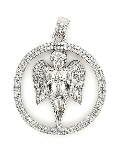Micro Pave 925 Sterling Silver Men's Pendant Rhodium Plating with Cubic Zirconia