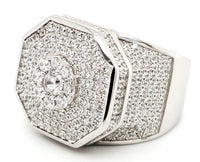 Micro Pave 925 Sterling Silver Men's Ring Rhodium Plating with Cubic Zirconia