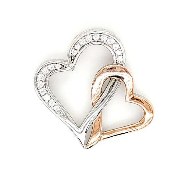 Micro Pave 925 Sterling Silver Pendant Rhodium and 14K Rose Gold Plating with Cubic Zirconia