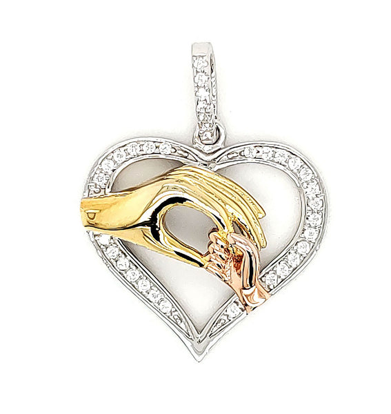 Micro Pave 925 Sterling Silver Pendant Rhodium and 14K Yellow Gold and 14K Rose Gold Plating with Cubic Zirconia