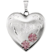 "Enameled Flowers ""Mom"" Heart Locket"