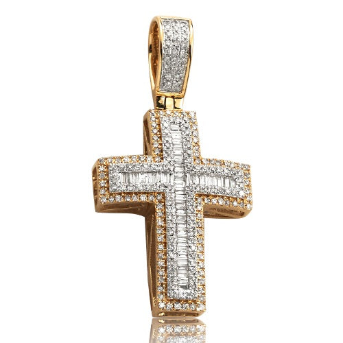 0.80CTW DIAMOND BAGUETTE CROSS PENDANT