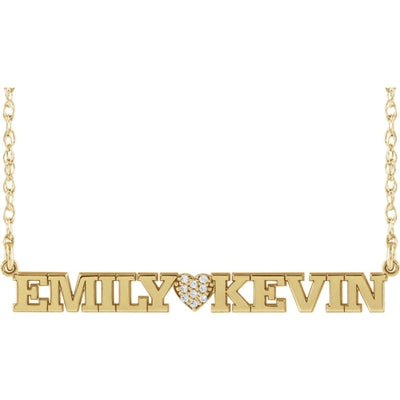10k White Gold .05 ctw Diamond Accented Name Necklace