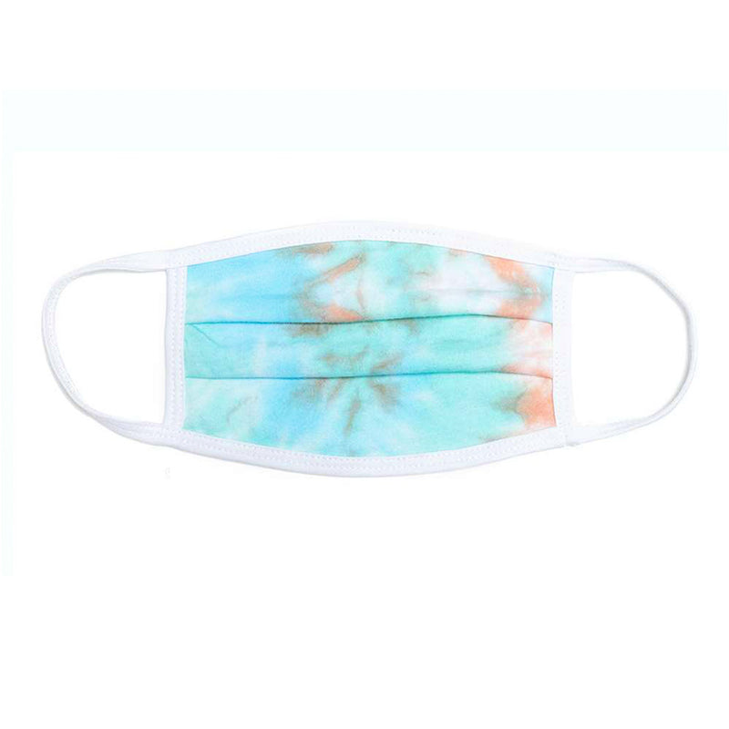 Teal Tie Dye Pleated Comfort Mask