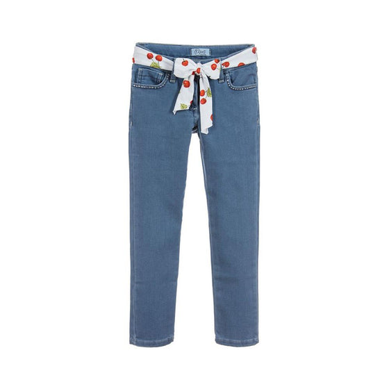 Grils blue jeans with bow belt