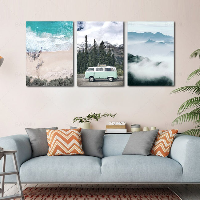 Style Canvas Painting Beach peaks