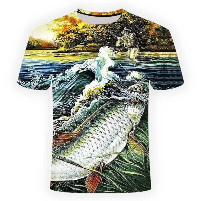 Fish 3d Print T Shirt Men O-neck
