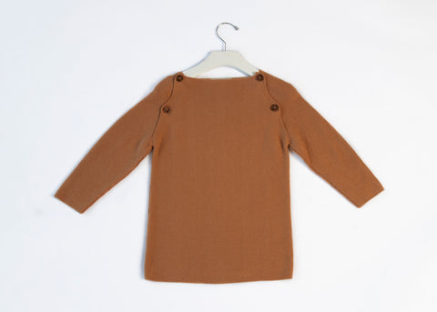 KNIT BUTTON LONG SLEEVE SWEATER PEACHY