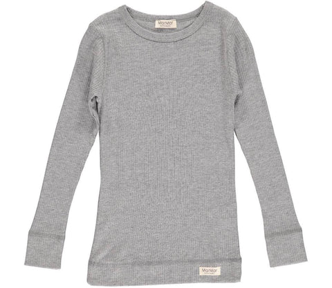 MARMAR RIBBED T-SHIRT GREY LONG SLEEVE - BABY ELAINE