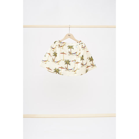 LEOCA ST HONORE SKIRT WHITE PALM TREE - BABY ELAINE