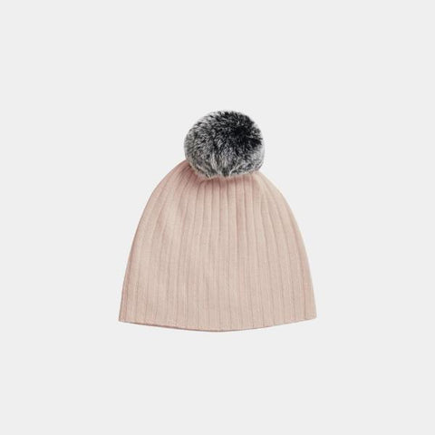 Belle Enfant Fur Pompom Hat Rose