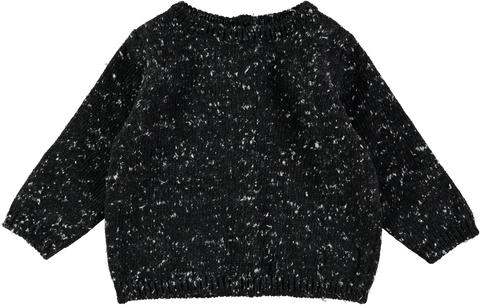 MINI SIBLING Knit Reversable Sweater-Cardigan	Black