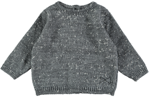 MINI SIBLING Knit Reversable Sweater-Cardigan	Grey Melagne