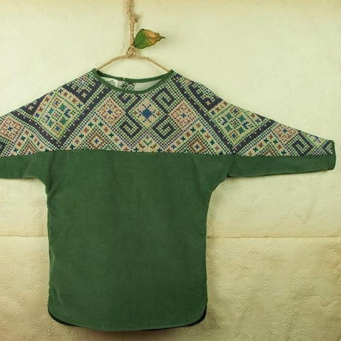 Popelin Green dress with yolk