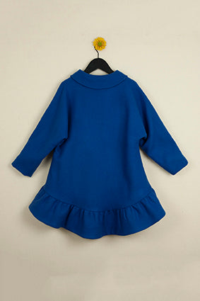 POPELIN Blue coat with frill