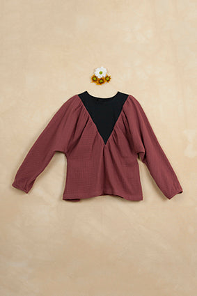 POPELIN Earth tone v-shaped yoke shirt