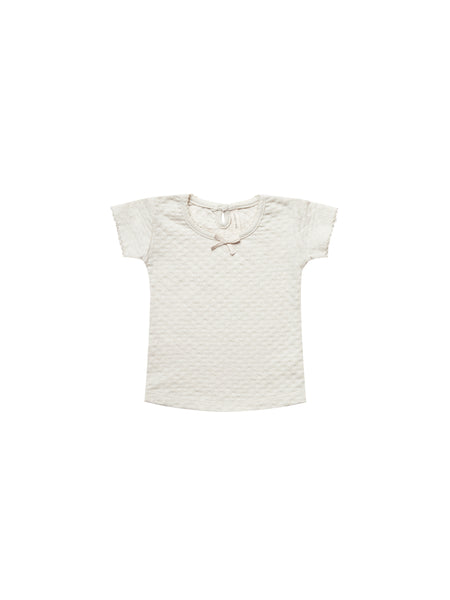 Quincy Mae Pointelle Tee  Pebble