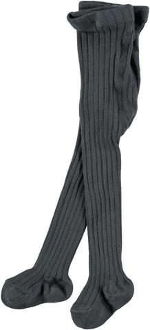 MINI SIBLING Ribbed Tights Charcoal