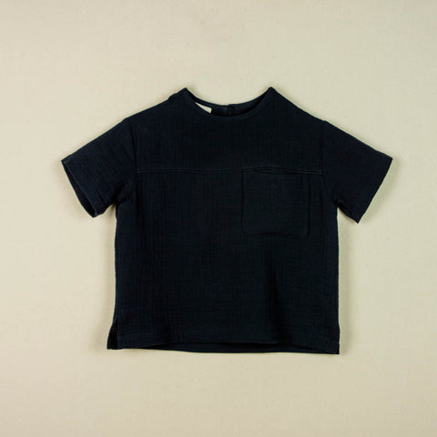 Popelin Black shirt with pocket