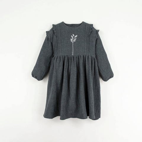 Popelin Long-sleeved pink dress