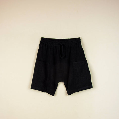 Popelin Black baggy bermuda shorts