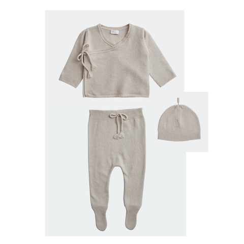BELLE ENFANT Wrap Top, Leggings, Hat Set Alabaster