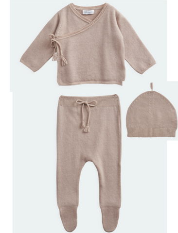 BELLE ENFANT Wrap Top, Leggings, Hat Set Rose