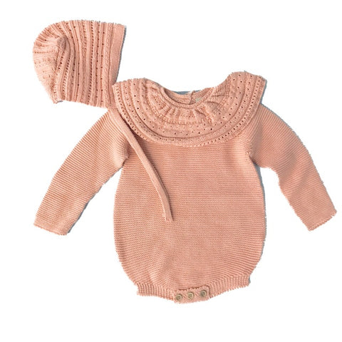 NEUCES PEACH KNIT ROMPER AND HAT