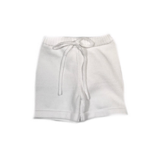 KNIT UNEVEN SHORTS WHITE