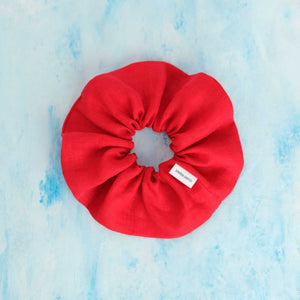 Strawberry Red - Large Linen Scrunchie