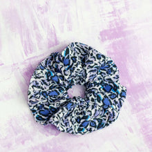 Load image into Gallery viewer, Blue Leopard  - Large Linen Scrunchie