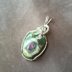 Ruby in Zoisite Wire Wrapped Sterling Silver Pendant