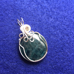 Dark Blue Apatite Sterling Silver Wire Wrapped Pendant