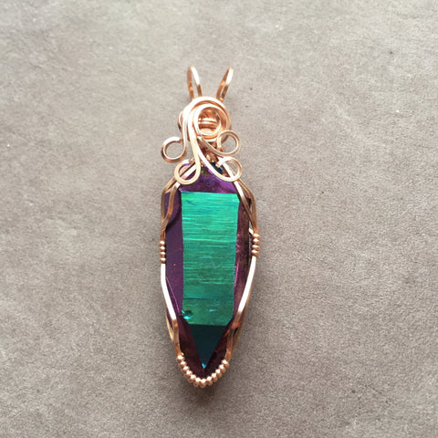Rainbow Aura Quartz Double Terminated Crystal 14K Rose Gold Filled Wire Wrapped Pendant