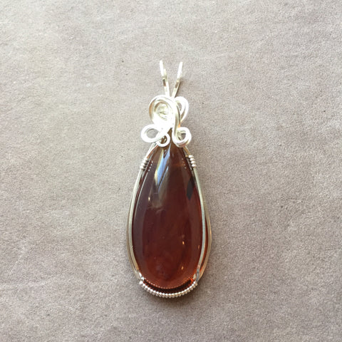 Burmite Amber Sterling Silver Wire Wrapped Pendant