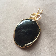 Black Tourmaline Cabochon Wire Wrapped 14K Gold Filled Pendant