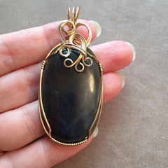 Large Dark Blue Sapphire 14K Gold Filled Wire Wrapped Pendant